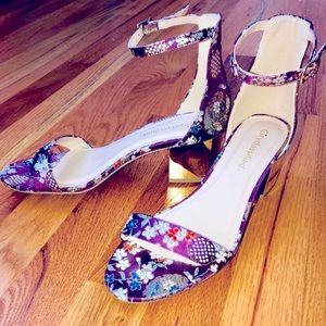 Cityclassified purple floral strapped heels 👡💜
